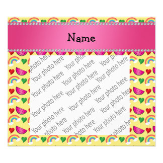 Custom name pastel yellow watermelons rainbows photograph