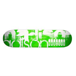 Custom Name Pattern on Neon Green Stripes Skateboards