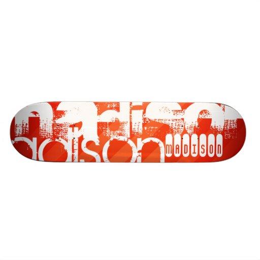 Custom Name Pattern on Neon Orange Stripes Skate Board