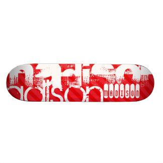 Custom Name Pattern on Red Diagonal Stripes Skate Boards
