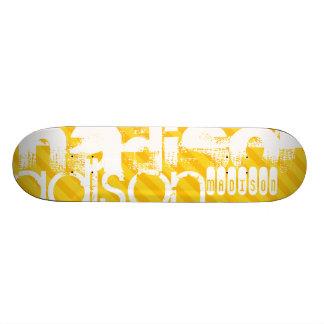 Custom Name Pattern on Yellow Stripes Skate Deck