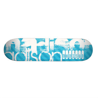 Custom Name Pattern; Sky Blue Stripes 18.1 Cm Old School Skateboard Deck