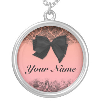 Custom name pendant. Chic, pink, black, bow. Silver Plated Necklace