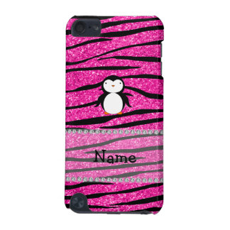 Custom name penguin pink glitter zebra stripes iPod touch 5G cases