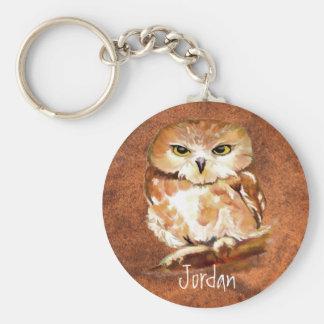 Custom Name Personalized Watercolor Owl Bird Key Ring