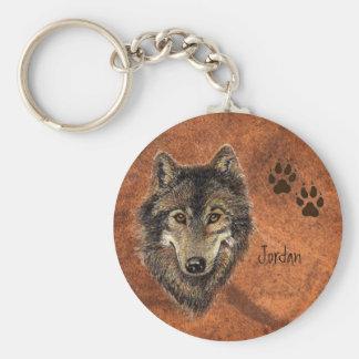 Custom Name Personalized Wolf & Tracks Key Ring