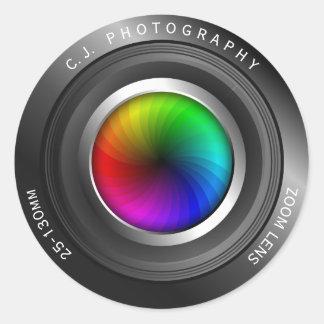 Custom Name Photographer Color Wheel Camera Lens Round Sticker