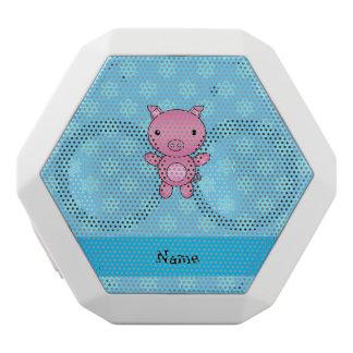 Custom name pig light blue snowflakes white boombot rex bluetooth speaker