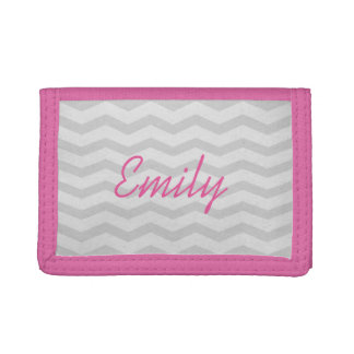 Custom name pink and grey chevron wallet for girls