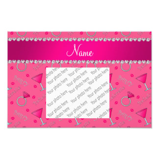 Custom name pink bachelorette cocktails rings photo print