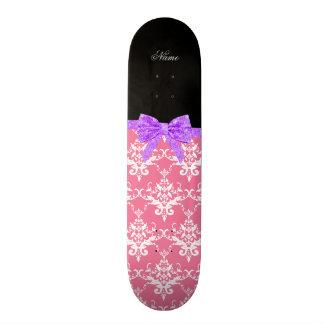 Custom name pink damask purple glitter bow skateboard