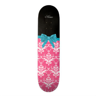 Custom name pink damask turquoise glitter bow skate deck