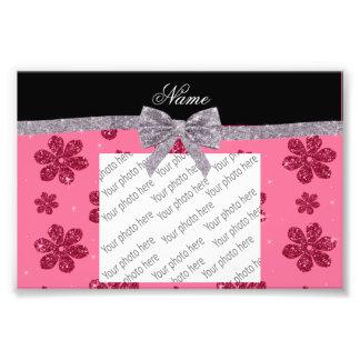 Custom name pink glitter flowers silver bow photo art
