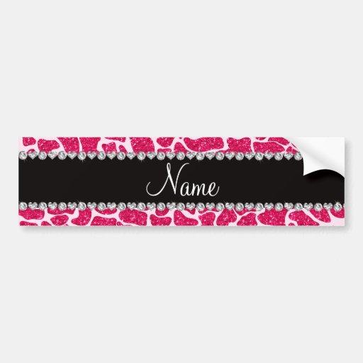 Custom name pink glitter giraffe bumper stickers