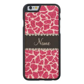 Custom name pink glitter giraffe carved® maple iPhone 6 slim case