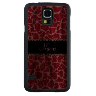 Custom name pink glitter giraffe carved® walnut galaxy s5 slim case