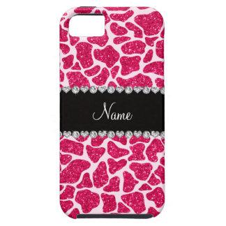 Custom name pink glitter giraffe iPhone 5 case