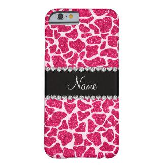 Custom name pink glitter giraffe barely there iPhone 6 case