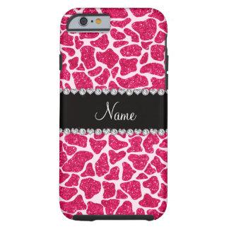 Custom name pink glitter giraffe tough iPhone 6 case