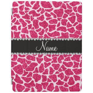 Custom name pink glitter giraffe iPad cover
