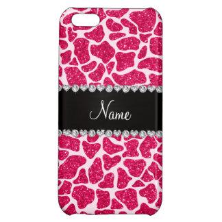 Custom name pink glitter giraffe case for iPhone 5C