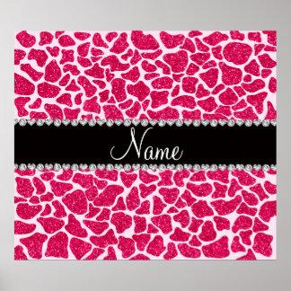 Custom name pink glitter giraffe poster