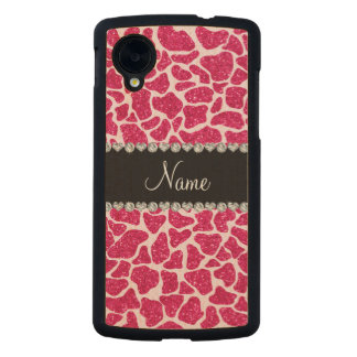 Custom name pink glitter giraffe carved® maple nexus 5 case