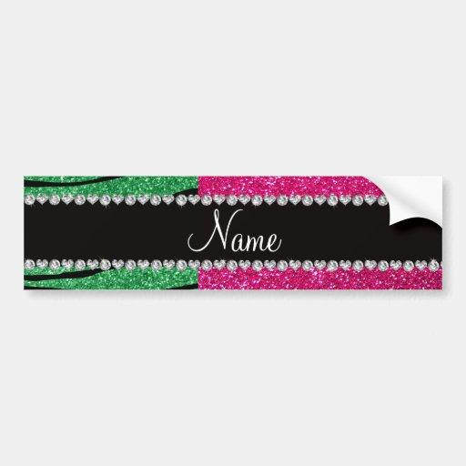 Custom name pink glitter green zebra stripes bumper sticker