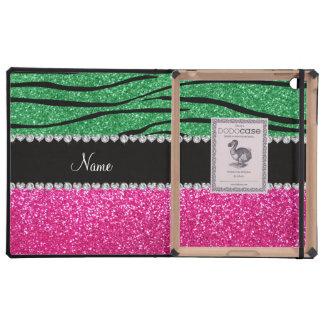 Custom name pink glitter green zebra stripes case for iPad