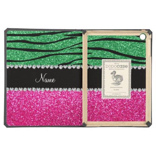 Custom name pink glitter green zebra stripes iPad air case