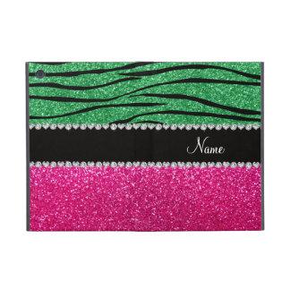 Custom name pink glitter green zebra stripes covers for iPad mini