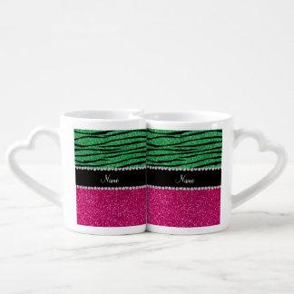 Custom name pink glitter green zebra stripes lovers mug