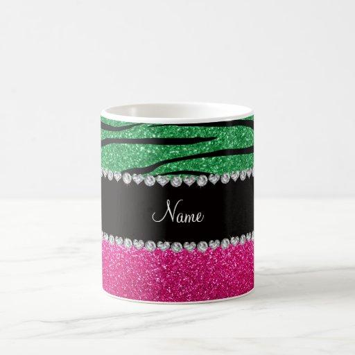 Custom name pink glitter green zebra stripes mugs