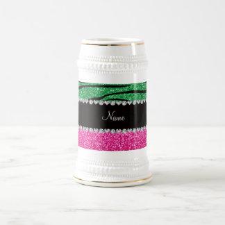 Custom name pink glitter green zebra stripes mug