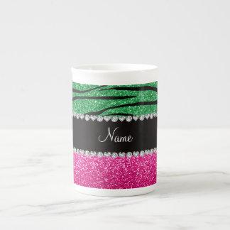Custom name pink glitter green zebra stripes tea cup