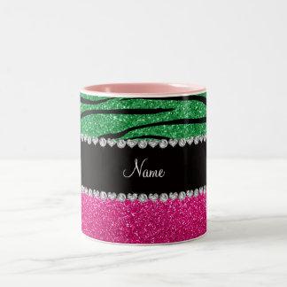 Custom name pink glitter green zebra stripes coffee mug