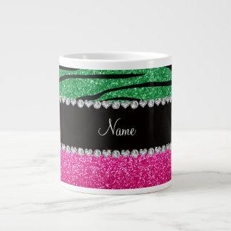 Custom name pink glitter green zebra stripes jumbo mug