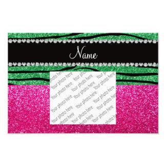 Custom name pink glitter green zebra stripes photo art