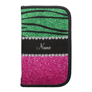 Custom name pink glitter green zebra stripes folio planners