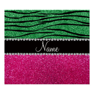 Custom name pink glitter green zebra stripes posters