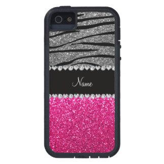 Custom name pink glitter light gray zebra stripes iPhone 5 case