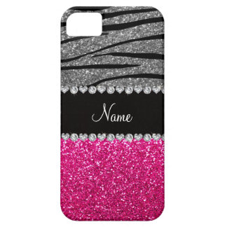 Custom name pink glitter light gray zebra stripes iPhone 5 covers