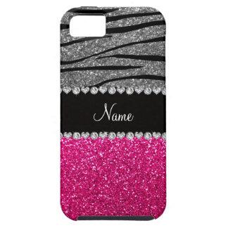 Custom name pink glitter light gray zebra stripes iPhone 5 cover