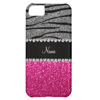 Custom name pink glitter light gray zebra stripes cover for iPhone 5C