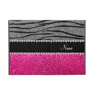 Custom name pink glitter light gray zebra stripes covers for iPad mini