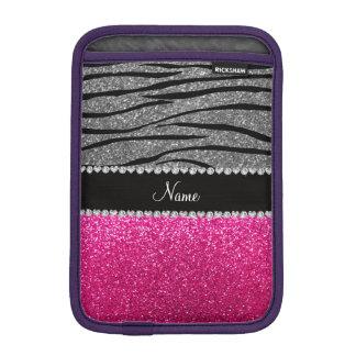 Custom name pink glitter light gray zebra stripes sleeve for iPad mini