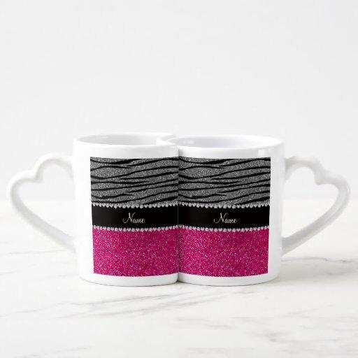 Custom name pink glitter light gray zebra stripes lovers mugs