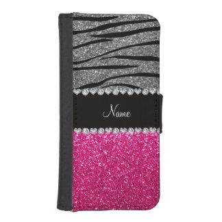 Custom name pink glitter light gray zebra stripes iPhone 5 wallet cases