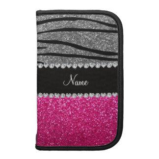 Custom name pink glitter light gray zebra stripes folio planners