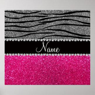 Custom name pink glitter light gray zebra stripes print
